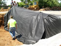 Laying Filter Fabric For Water Drainage